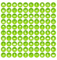 100 horsemanship icons set green circle vector