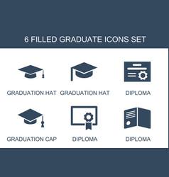 6 graduate icons vector