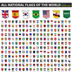 all national flags world 3d realistic vector image