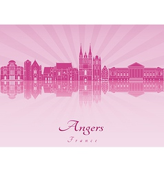 Angers skyline in purple radiant orchid vector image