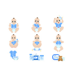 Baby diaper changing sequence vector