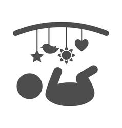 Baby with hanging toys pictogram flat icon vector image