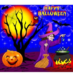 background Halloween with the boiler vector image