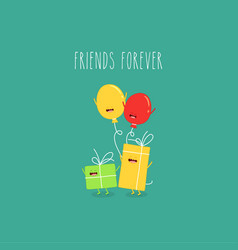 balloons gift boxes friends forever vector image