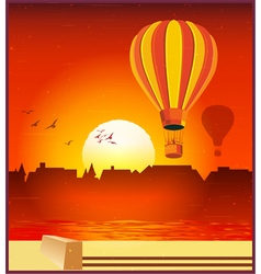 balloons in setting sun vector image