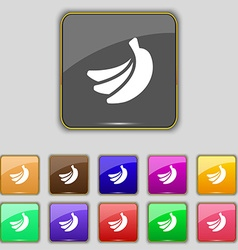 banana icon sign Set with eleven colored buttons vector image