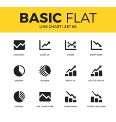 Basic set of Line chart icons vector
