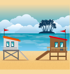 beach with lifeguard tower scene vector image