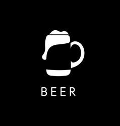 Beer mug with beer negative space logo template vector