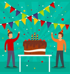 Birthday party concept background flat style vector