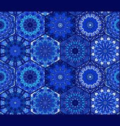 blue background tiles mandala pattern vector image