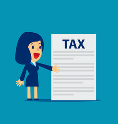 Businesswoman is showing tax concept business tax vector
