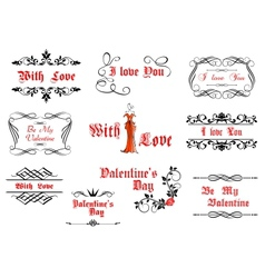 Calligraphic elements with love and valentines vector image