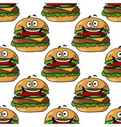 Cartoon hamburger seamless pattern vector image
