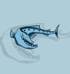 cartoon sea monsters shark isolated on white vector image