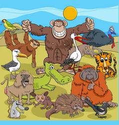 Cartoon wild animal comic characters group vector