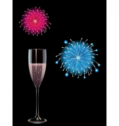 champagne and fireworks vector image
