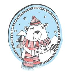Christmas bear vector