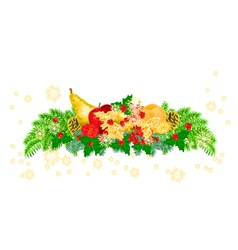 Christmas decoration with fruit and pine cones vector