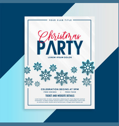 christmas flyer template with snowflakes and vector image