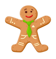 christmas gingerbread man cute decorated cookie vector image