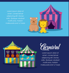 circus tent with cute animals and games vector image