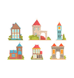 Collection medieval buildings in european vector
