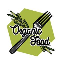 color vintage organic food emblem vector image