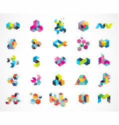 creative digital colorful logo collection vector image