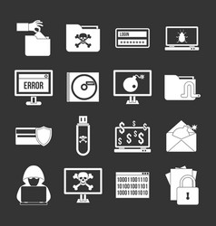 Criminal activity icons set grey vector