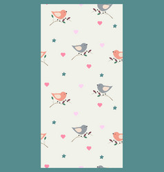 Cute seamless pattern with birds stars and hearts vector