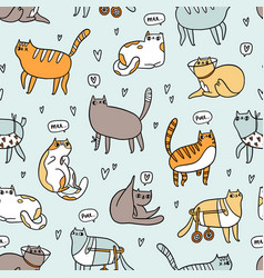 Cute special cats seamless pattern vector