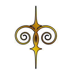 Decoration ornament element swirl golden vector
