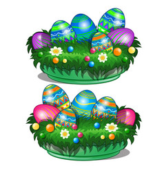 Decorative bowl with painted easter eggs vector