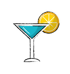 Delicious cocktail with slice of lemon to refresh vector
