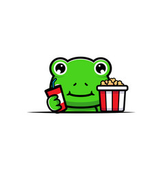 Design cute frog with popcorn and drink vector