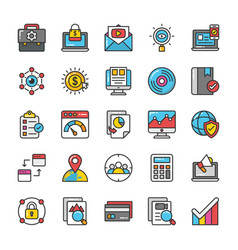 Digital and internet marketing icons set 5 vector