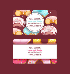donut doughnut business card food glazed vector image