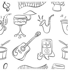 Doodle musical instrument hand draw vector