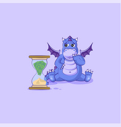 Dragon sticker emoticon sits at hourglass vector