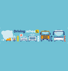 driving school on categories transport vector image