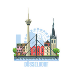 dusseldorf city skyline city landscape with vector image