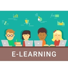 E-learning concept of distance vector image