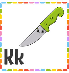 English alphabet letter k - knife abc square vector