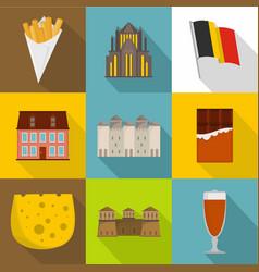 european food icons set flat style vector image