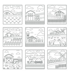 farm and agriculture summer rural landscapes vector image