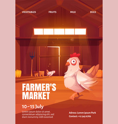Farmers market poster with hen in wooden barn vector