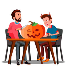 Father and son making a pumpkin for halloween vector