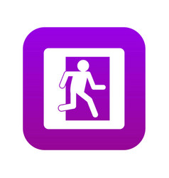 Fire exit sign icon digital purple vector