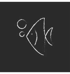 Fish under water icon drawn in chalk vector